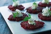 Mini root vegetable cakes with horseradish cream