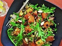 Minted couscous with arugula, butternut squash, and currants