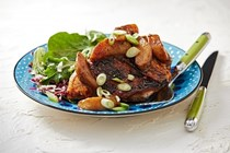 Miso-ginger roasted chicken and pears
