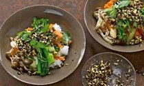 Miso vegetables and rice with black sesame dressing
