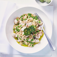 Monkfish risotto with dill & caper butter