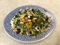 Moroccan cous cous with roasted pumpkin, almonds and raisins
