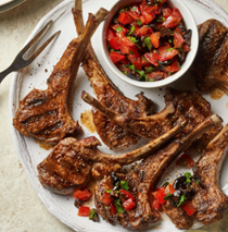 Moroccan lamb chops with tomato-olive relish