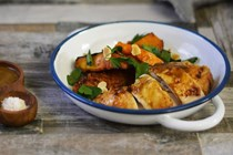 Moroccan roast chicken with pumpkin and almonds