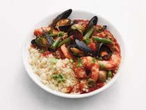 Moroccan seafood stew with couscous