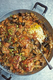 Moroccan-spiced chicken with dates & aubergines