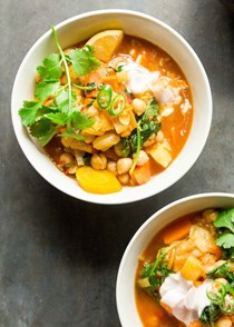 Moroccan-spiced sweet potato and chickpea stew (with ras el hanout)