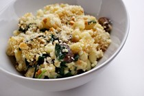 Mushroom and spinach macaroni and cheese
