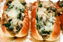 Mushroom, spinach & Swiss hot dogs