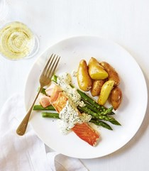 Mustard and dill salmon with new potatoes and asparagus