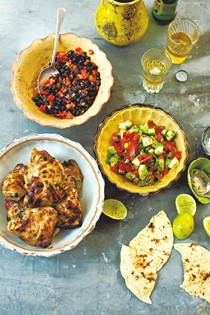 Mustard chicken, black beans and avocado salsa