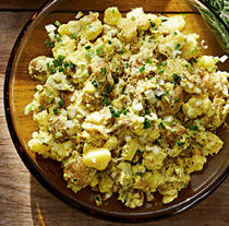 New potato salad with spring onions