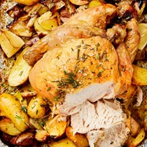 Nigella Lawson's roast chicken with lemon, rosemary, garlic and potatoes