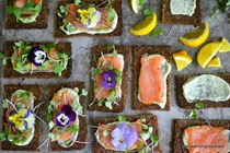 Nordic open faced smoked salmon sandwiches with dilled mayonnaise