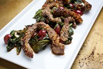 Nut-crusted sirloin strips with grapes