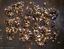Nutty chocolate bark with cardamom and coffee