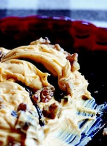 Old-fashioned pounded cheese with walnuts and Port syrup