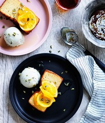 Olive oil cake with pumpkin-seed ice-cream and candied orange