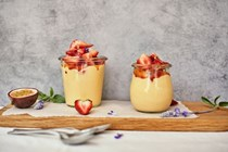 Olive oil-marinated strawberries with passion fruit and lavender custard