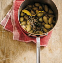 Olives poached in wine and lemon