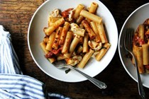 One-pan skillet-baked ziti with burst tomato sauce