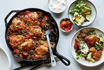 One-pot chicken thighs with black beans, rice and chiles