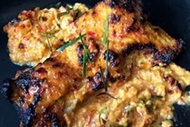 One-pot skinless chicken thigh with kaffir coconut cream crust