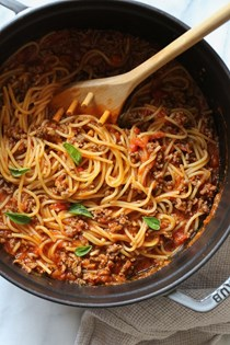One-pot spaghetti and meat sauce (stove-top)