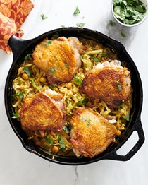 One-skillet chicken thighs with curried cabbage and chickpeas