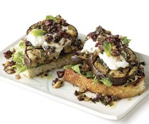 Open-face grilled eggplant sandwiches with olive-walnut relish