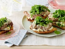 Open-faced tuna sandwiches with arugula and sweet-pickle mayonnaise