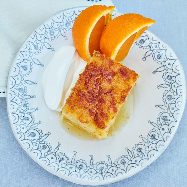 Orange and broken filo pastry pie cake