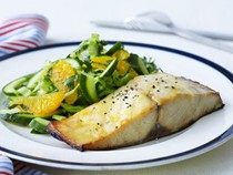Orange and mustard-glazed fish