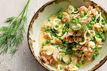 Orecchiette with hot-smoked salmon, peas and beurre blanc sauce