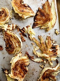 Oven-caramelized cabbage wedges