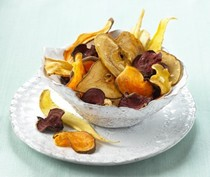 Oven-dried root and fruit chips