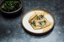 Oyster sauce-baked brill with sesame broccoli and miso chickpea purée