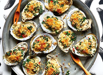 Oysters au grain with spinach and breadcrumbs