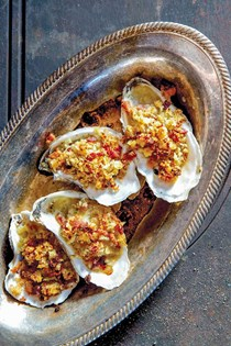 Oysters Rockefeller with bacon