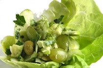Pale green spring salad with lime vinaigrette