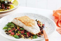 Pan-fried blue-eye with wild rice salad