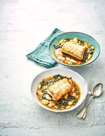 Pan-fried cod with giant beans and chard