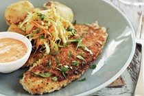 Pan-fried fish with speedy red pepper aioli