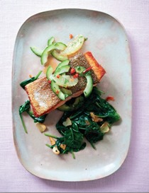Pan-fried salmon with cucumber and lemon salsa