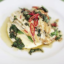 Pan-fried sole with wet polenta, garlic, chilli and basil