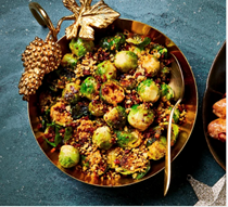 Pan-fried sprouts & crunchy chorizo crumbs