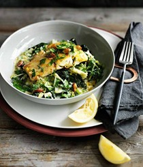 Pan-fried trevalla with avgolemono silverbeet
