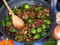 Pan-roasted Brussels sprouts with caramelized onions and crispy pancetta
