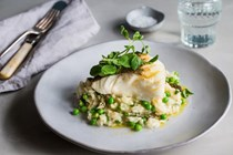 Pan-roasted cod loin with pea and asparagus risotto