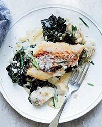 Pan-seared rockfish with oyster cream sauce